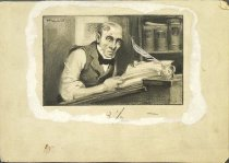 Image of [Man reading book at printers table] - Howard, O.F.